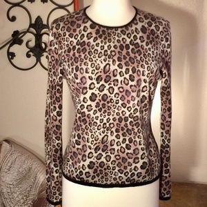 100% Cashmere Leopard Print Sweater